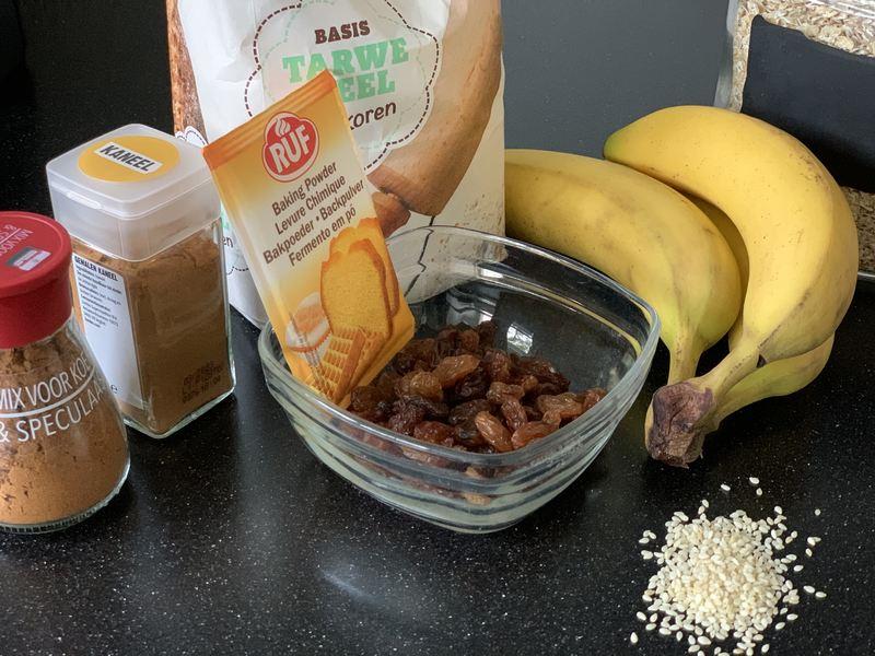 Ingredienten gezonde bananen koekjes