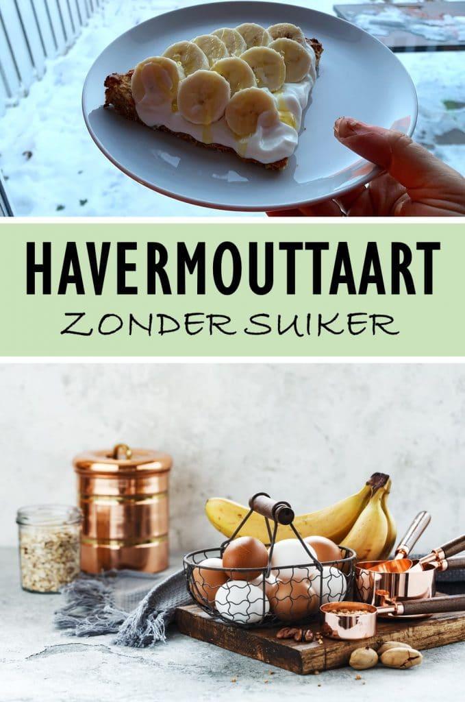 Op zoek naar een lekker ontbijt recept? Deze gezonde havermouttaart met kwark en banaan is makkelijk om te maken en heel erg lekker! #ontbijt #havermout #suikervrij
