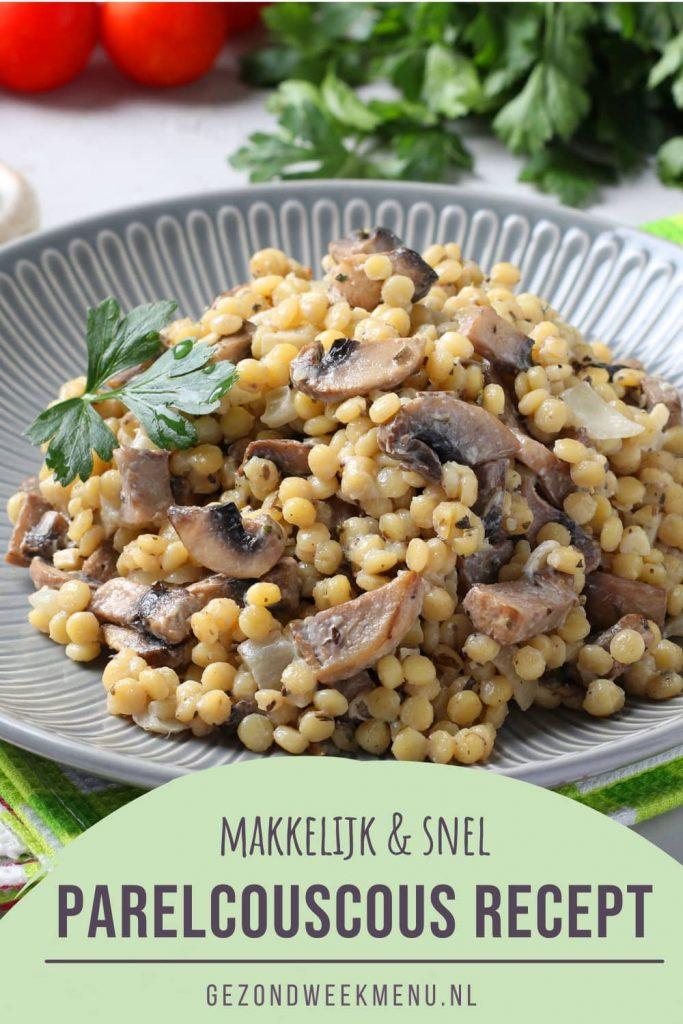 Zoek je een lekker parelcouscous recept? Dit gerecht met parelcouscous, ricotta, champignons en sjalotjes is makkelijk, snel en smakelijk! #parelcouscous #recept #avondeten
