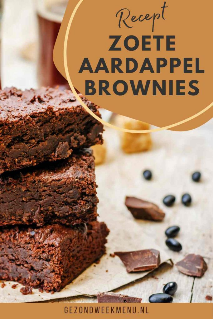 Deze heerlijk smeuïge zoete aardappel brownies maak je zonder suiker en boter. Lekker en gezond als tussendoortje voor de echte chocoholics. #brownie #bakken