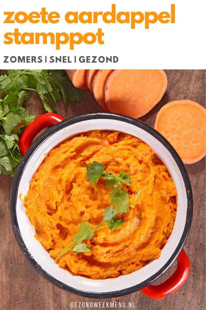 Lekker en makkelijk recept voor zoete aardappel stamppot met spinazie en feta. Boordevol groente en binnen 30 minuten op tafel. #stamppot #zoeteaardappel