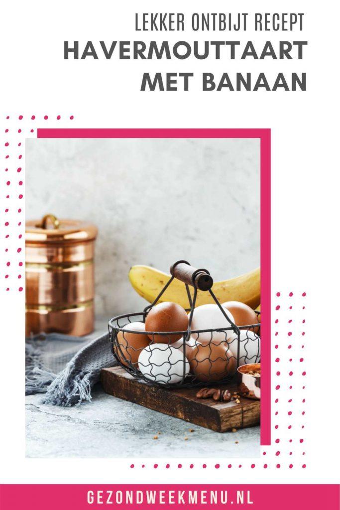 Zoek je een gezond ontbijt recept met havermout? Deze havermouttaart met kwark en banaan is makkelijk om te maken en heel erg lekker! #ontbijt #havermout #suikervrij